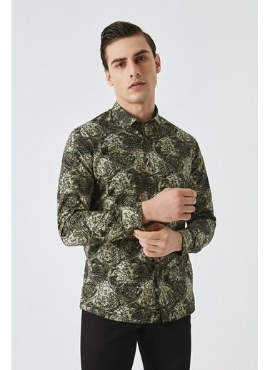 Tween Slim Fit Baskılı Gömlek Yeşil